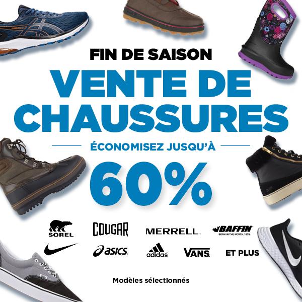 Vente de chaussures - Fin de saison Jusqu'à 60% de rabais
