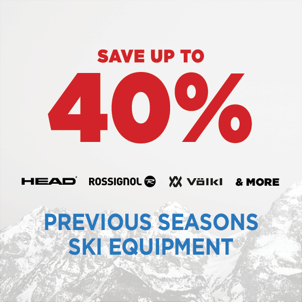 Save up to 40% Off Previous Seasons Ski & Snowboard Equipment