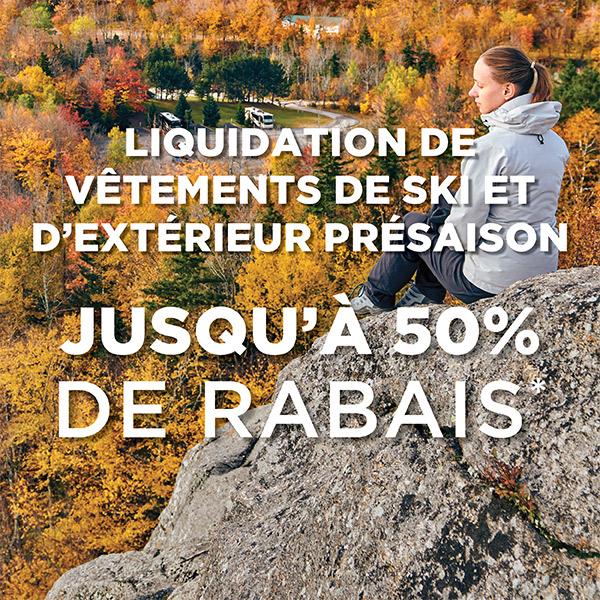 Liquidation pré-saison de vêtements de ski et d'extérieur - Jusqu'à 50% de rabais