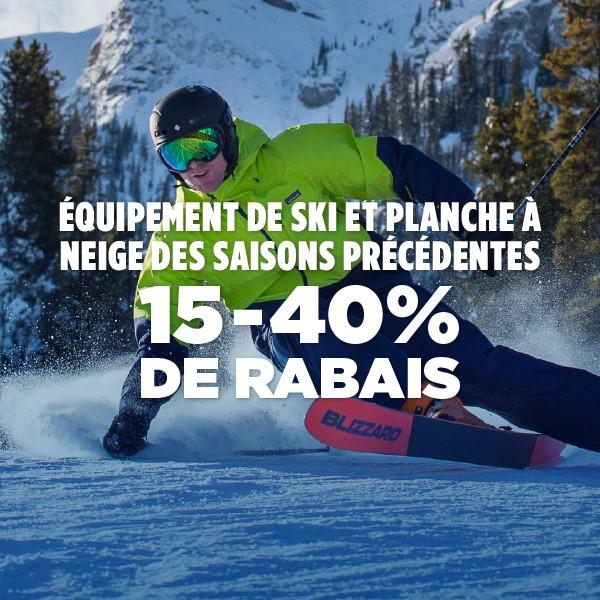 Équipement de ski et de planche de saison précédentes - 15-40% de rabais